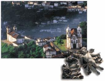 Igreja no centro de Ouro Preto e, no detalhe, um anjinho numa das cúpulas: amostras do barroco Foto: LucianaNapchan