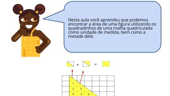 Àrea e o uso de metade de quadradinhos em malha quadriculada.