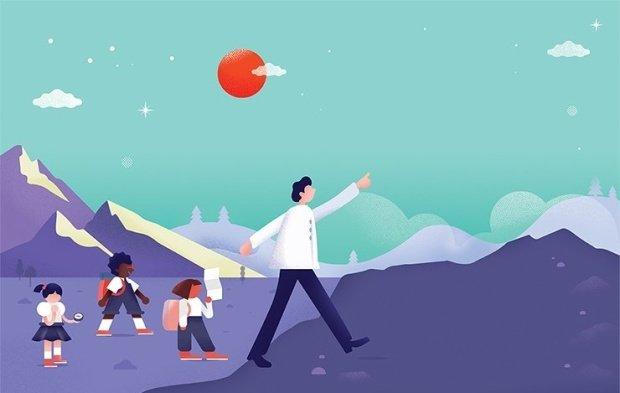 Ilustrações com figuras simples, observa-se um professor apontando para frente, atrás dele seguem três alunas