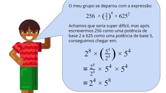 Fatorando números grandes para aplicar propriedades das potências e facilitar os cálculos.