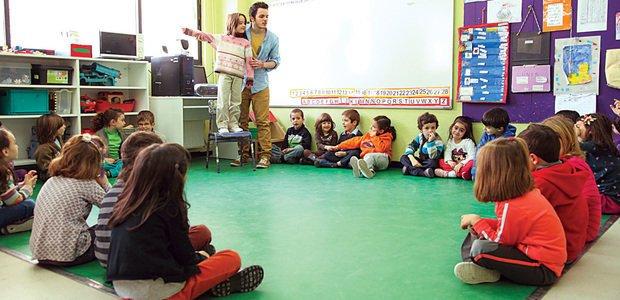 Na aula de Inglês do Colegio Siglo XXI, em Madri, na Espanha, a menina ao lado do professor descreve o clima. Foto: Emilia Brandão