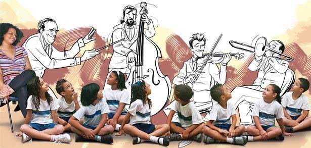 A professora desenvolveu um trabalho com música clássica para ampliar o repertório dos estudantes e fazê-los conhecer um mundo em que os sons dos instrumentos se destacam. Foto Tânia Rego. Ilustração Raphael Salimena
