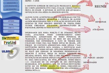 Montagem de Mariana Coan sobre reprodução de site