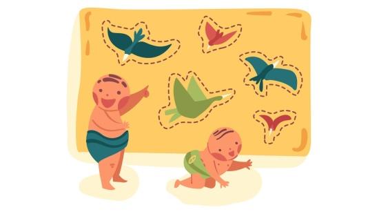 Som e imagem de pássaros com bebês