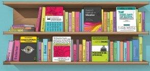 Ilustração de uma estante de livros. Com 6 capas voltadas para frente