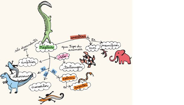 Esquematizar. Ilustração: Fabrícia Batista. Fonte: Artigo Learning with concept map: an analysis of a teaching experience on thetopic of reptiles with 15-year-old students at a secondary school, apresentado na International Conference on Concept Mapping 2008.