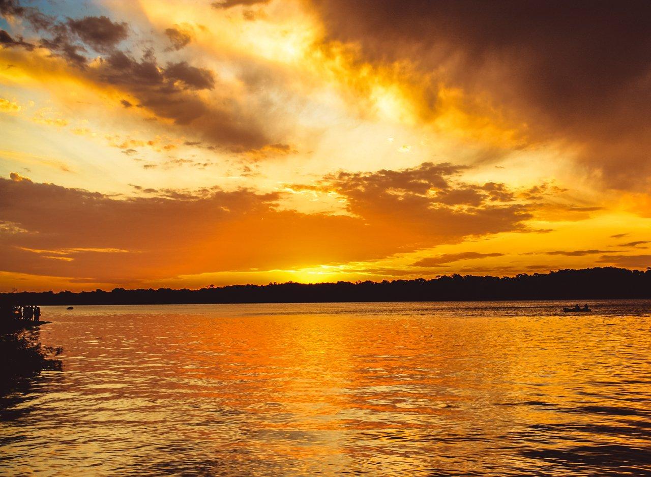 Por do sol no Rio Uruguai em São Borja, Rio Grande do Sul