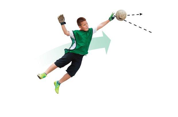 É quando o goleiro salta para um dos ângulos superiores da trave e bate na bola com as mãos abertas, defendendo o gol