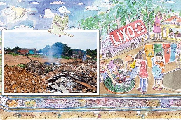 Os estudantes da EE Heitor Villa-Lobos sugeriram o fim dos lixões e a reciclagem. Fotos Mateus Andrade/Imagem News. Ilustração Melissa Lagôa