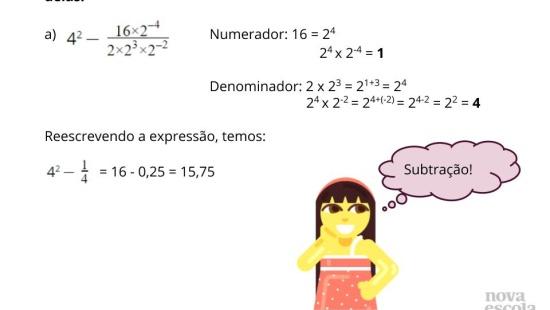 Utilizando propriedades de potência no cálculo de expressões
