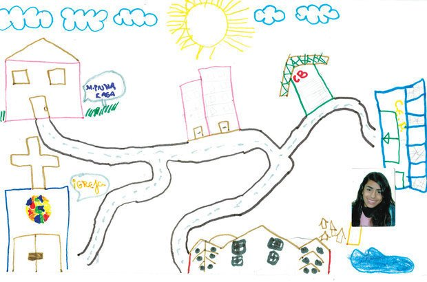 No seu mapa, Joyce Machado da Silva, 14 anos, identificou que o carro é mais rápido. Ilustração: reprodução. Foto: Arquivo pessoal/Joyce Machado da Silva