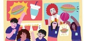 Ilustração de crianças com uniforme conversam e brincam no pátio e no fundo há cartazes do Mcdonalds