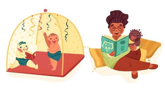 Leitura na cabana  para os bebês