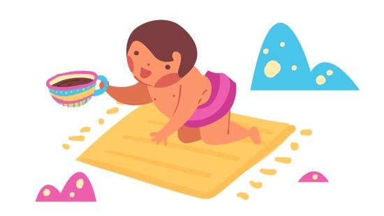 O jardim de chás: bebês experimentando sabores