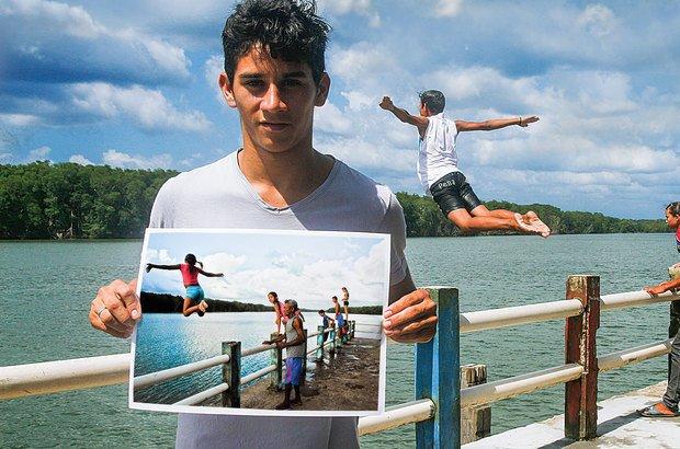 Alex conseguiu captar o momento certo e fotografar as crianças pulando no rio. Janduari Simões e arquivo pessoal/José Luiz Tavares da Silva