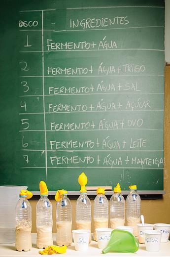 Alunos estudam a fermentação com aula prática