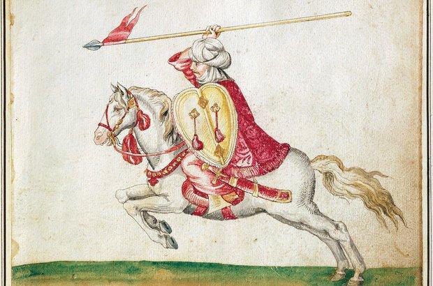 A gravura do século 16 retrata um soldado mouro durante batalha na Espanha. Getty Images/Dea/A. Dagli Orti