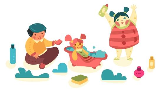 O cuidado e o faz de conta: Banho de bonecos