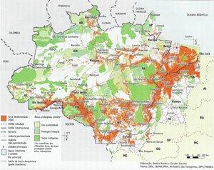Mapa 2 - Amazônia: desmatamento e Unidades de conservação. BECKER & STENNO, p. 74.