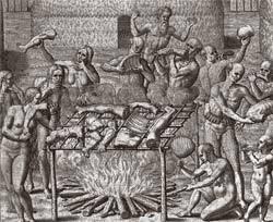 Tupinambás em ritual de antropofagia retratado por Théodore de Bry: Montaigne desafia o senso comum. Foto: Corbis /Stock Photos