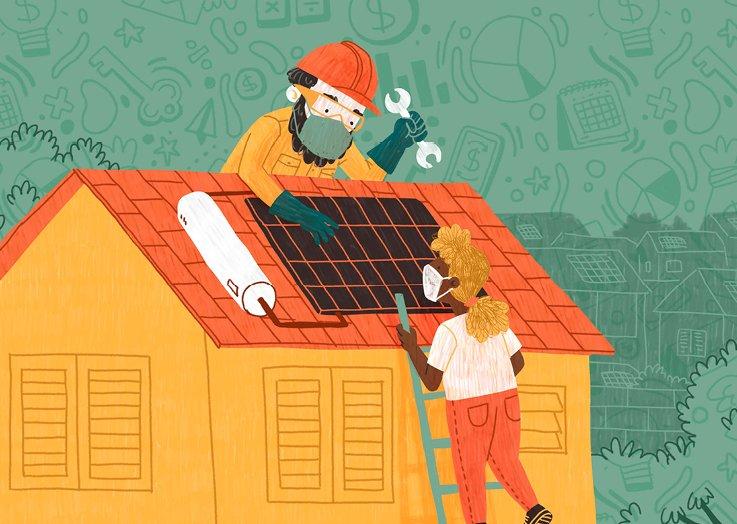 Ilustração de técnico e contratante instalando painéis de energia solar sobre o telhado.