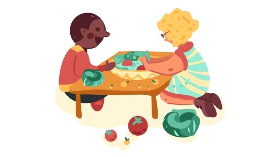 Colhendo e compartilhando os alimentos da horta