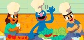 Alimentação saudável: cozinhando com o Grover