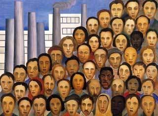 Operários: destaque da fase social da pintora, a tela mostra os vários rostos dos trabalhadores da recém-inaugurada indústria brasileira. Foto: Reprodução