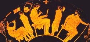 Representação de Educação na Antiga Grécia é visto em vaso do British Museum