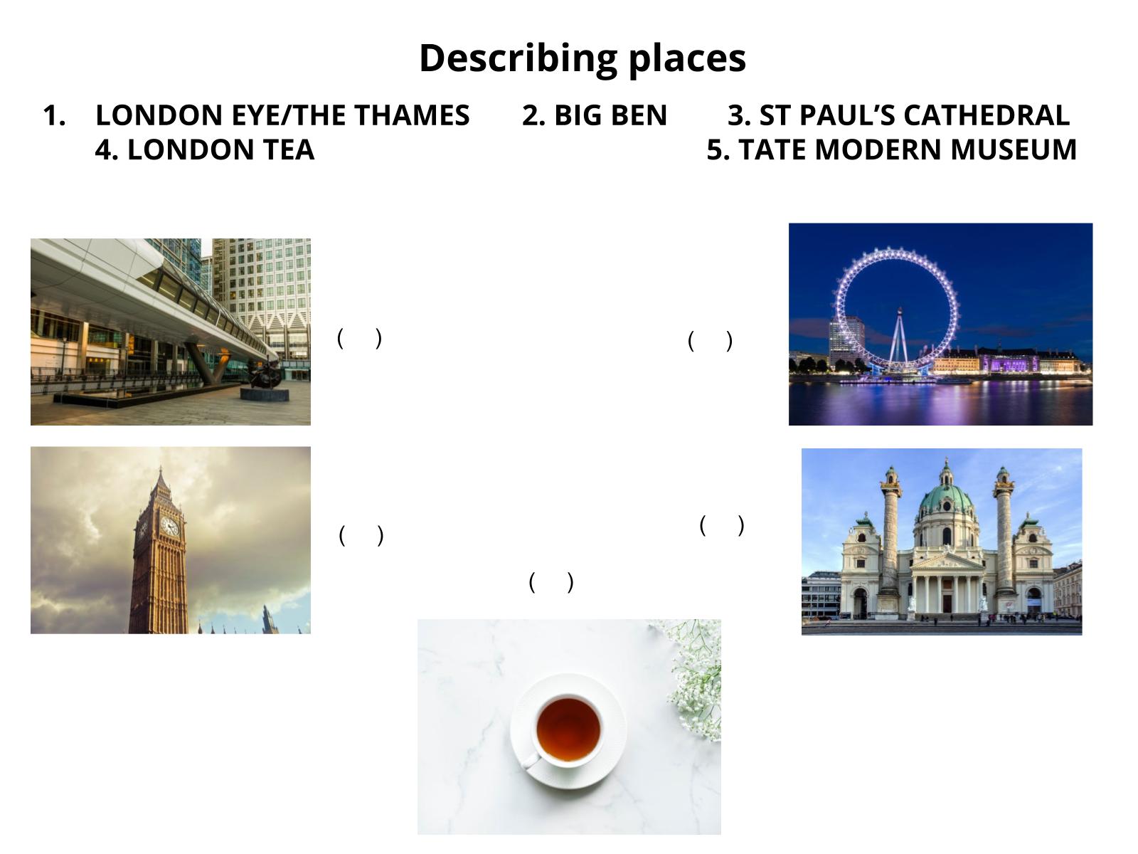 Ler descrições de lugares em Língua inglesa