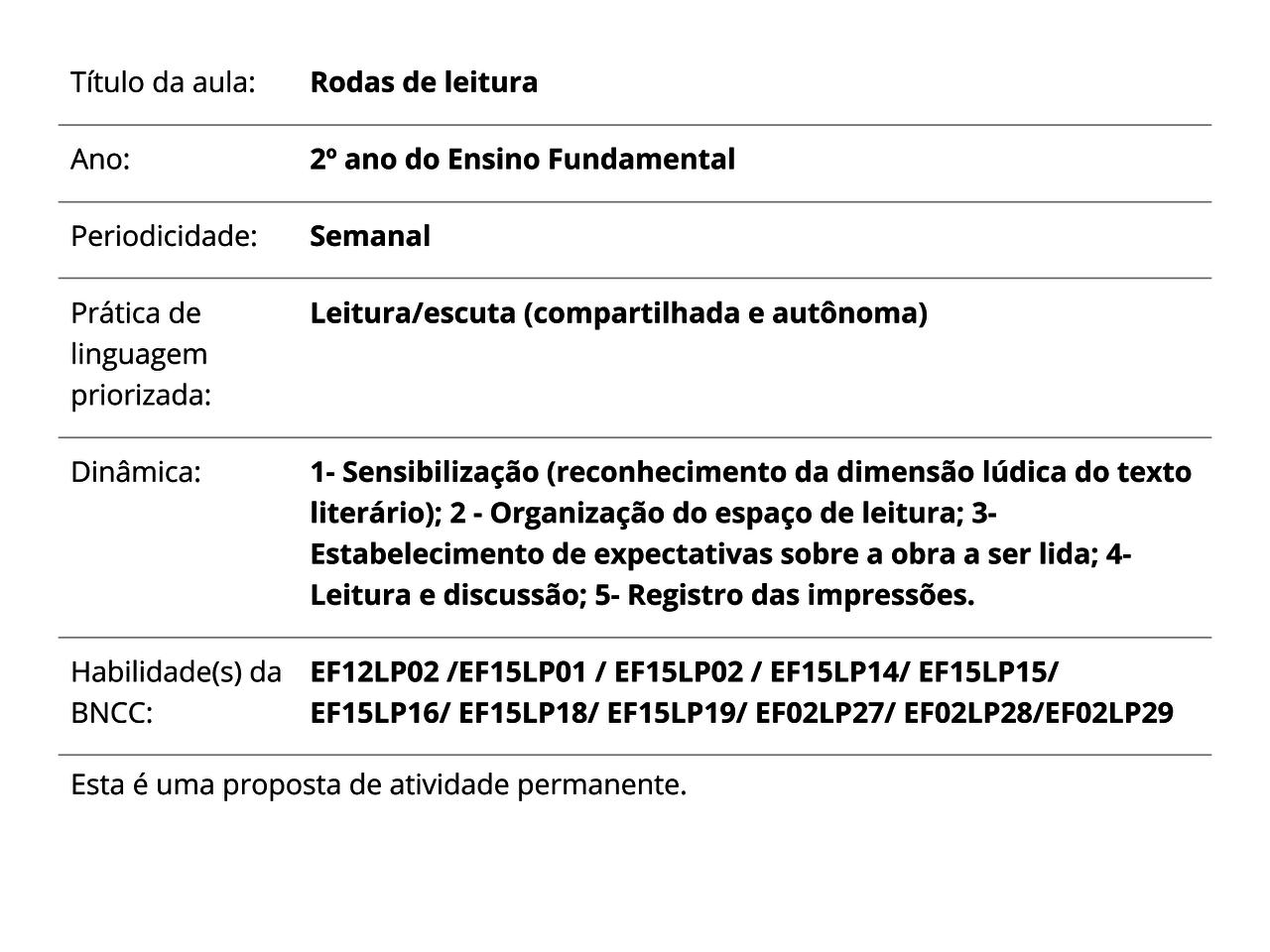 Plano De Aula 2º Ano Lingua Portuguesa Rodas De Leitura