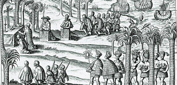 Os padres começaram a catequizar os índios logo que desembarcaram no Brasil. Reprodução/Coleção José Mindlin
