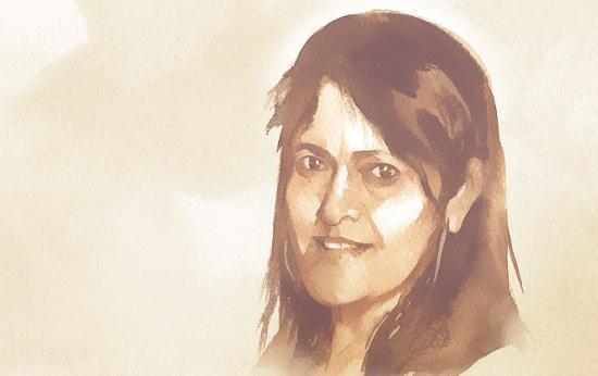 Retrato ilustrado da professora Heley Abreu
