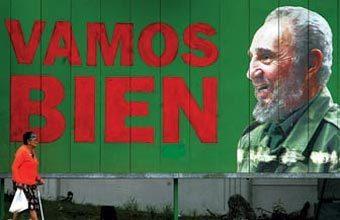 BEM PARA QUEM? A propaganda exalta o governo socialista, mas a população não é livre para opinar. Foto: AFP