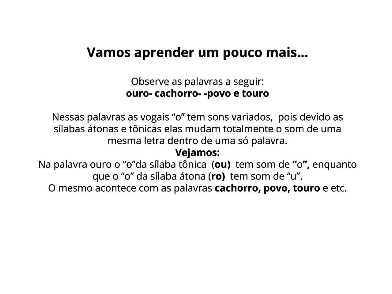 O Emprego Do O Ou U Planos De Aula 5º Ano Língua Portuguesa