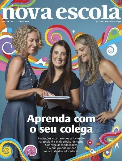 Fundo azul com faixas coloridas, no centro três mulheres sorrindo olhando para o caderno. Na chamada lê-se Aprenda com o seu colega