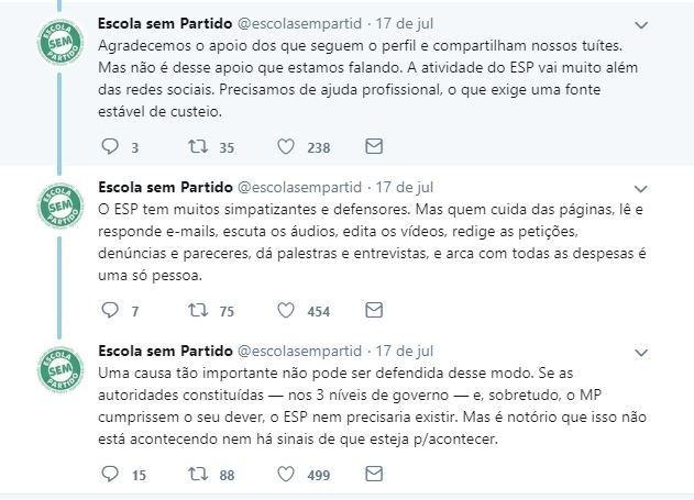 Publicações do Twitter do Escola Sem Partido informando razões de encerramento de atividades no dia 1º de Agosto de 2019