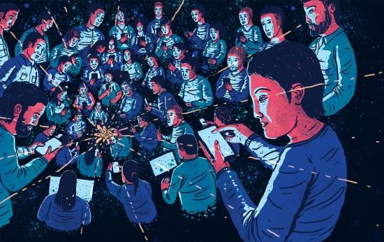 Ilustração de diversas pessoas lendo notícias no celular e no computador