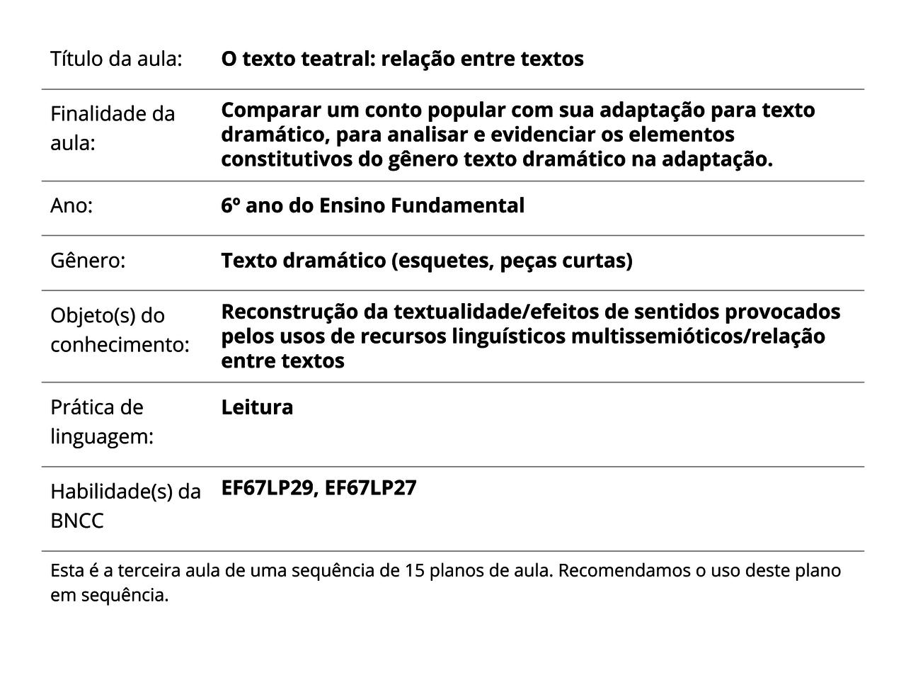 Plano De Aula 6º Ano Língua Portuguesa O Texto Teatral