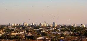 Skyline de Rio Claro ao entardecer. é possível ver construções de casas e prédios e balões no céu.