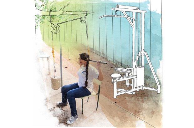 Ao usar o puxador <em>(pulley)</em>, aluna exercitou os grandes dorsais, músculos das costas. Fotos: Arquivo pessoal/Fernando de Freitas. Ilustração: Melissa Lagoa