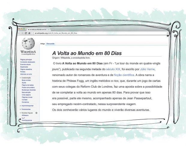 Uma versão melhorada do texto foi elaborada em conjunto pela turma e publicada no site. Reprodução Wikimedia Foundation Inc. Ilustração Alice Vasconcellos