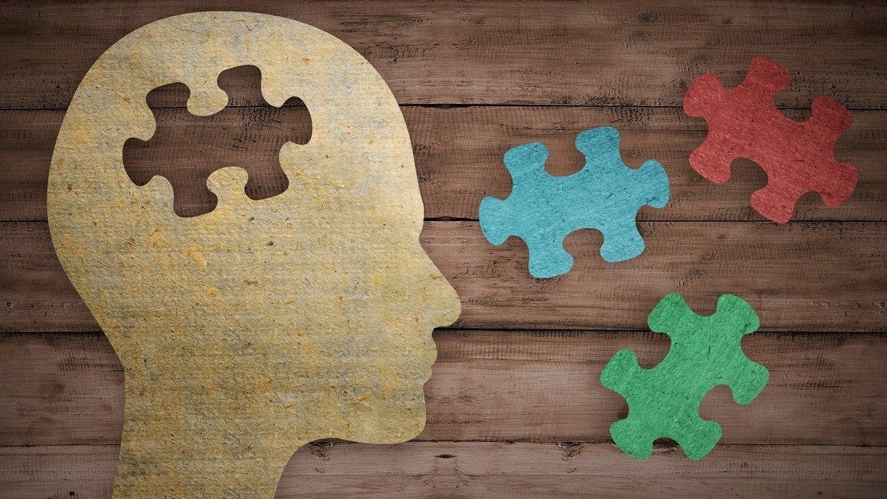 Ilustração de uma cabeça com um peças de quebra-cabeças