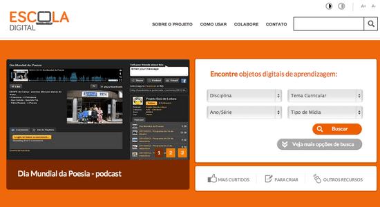 Captura de tela do portal Escola Digital, iniciativa dos Institutos Natura e Inspirare que cataloga mais de 1600 objetos digitais de aprendizagem. IMAGEM: Divulgação
