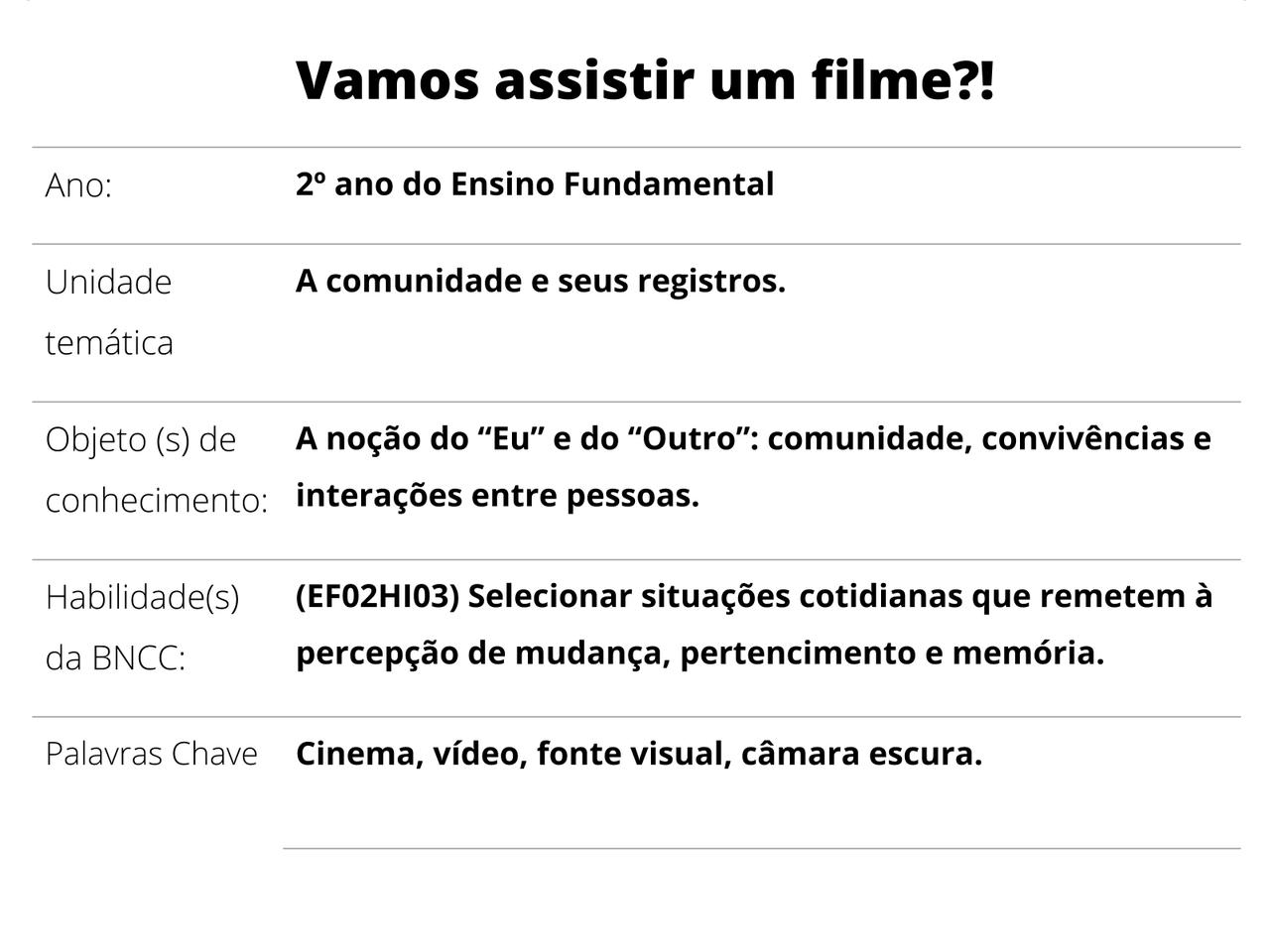 Plano De Aula 2º Ano História Vamos Assistir Um Filme