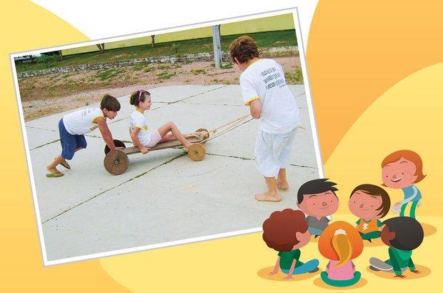 As crianças conheceram e experimentaram brinquedos como o carrinho de madeira. Arquivo pessoal/Isaura Gorete de Carli. Ilustrações Pedro Hamndan