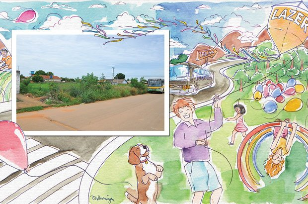 A turma propôs, ainda, a criação de parques e áreas de lazer em terrenos baldios. Fotos Mateus Andrade/Imagem News. Ilustração Melissa Lagôa