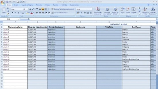 Modelo De Planilha Para Organizar Os Dados Dos Alunos