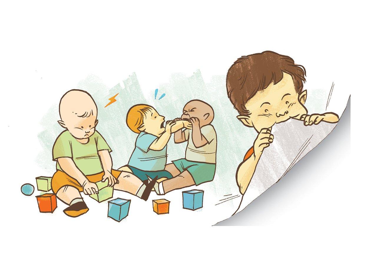 Gravura de crianças mordendo objetos e até a página