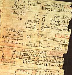 REGISTRO HISTÓRICO O papiro de Rhind revela figuras geométricas. Foto: Egyptian/Getty Images